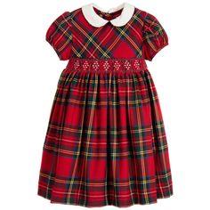 Malvi & Co Girls Red & Green Tartan Hand Smocked Dress  at Childrensalon.com