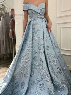 A-Line Off-the-Shoulder Sweep Train Light Blue Printed Prom Dress,P967