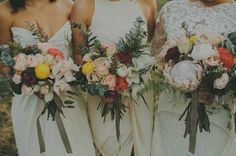 Colourful protea wedding bouquets. Bridal gown and veil by Soontariya Utto. Photos Danelle Bohane.