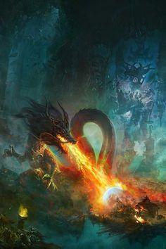 Fierce firebreathing dragon