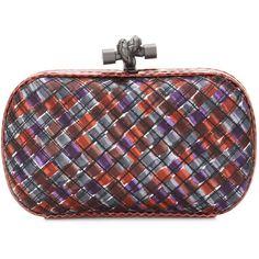 Bottega Veneta Knot Satin and Snakeskin Clutch ($1,525) ❤ liked on Polyvore featuring bags, handbags, clutches, multicoloured, colorful handbags, multi color purse, colorful clutches, snake skin handbags and satin purse