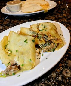 Duck Confit Crepe with wild mushrooms and leeks | ShesCookin.com
