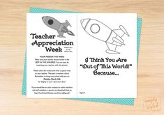 Space themed coloring sheet for Teacher Appreciation Week. Coordinating printables are available for the entire week long celebration! Teacher Appreciation Week, Teacher Gifts, Superhero Teacher, Space Classroom, World Teachers, Teacher Favorite Things, Out Of This World, Coloring Sheets, Writing