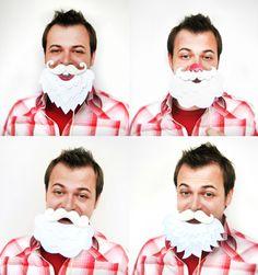 Hilariously fun Santa beard photo booth props, perfect for holiday bashes.