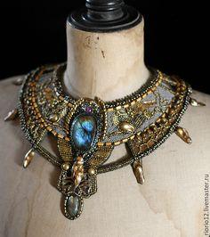"""Купить Колье """"Scythian"""" - Скифы, модерн, Ар Нуво, грифон, лабрадорит, золотой, звериный стиль"""