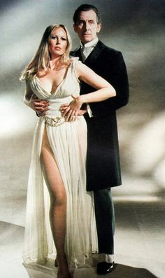 """Peter Cushing and Veronica Carlson in a promotional pic for """"Frankenstein Must Be Destroyed"""" (1969)"""