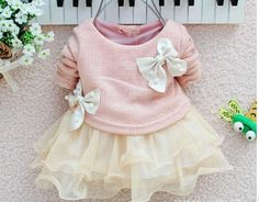 pink and white christmas girls dress baby infant newborn for age 6, 9, 12, 18, 24 months old long sleeves sweater tutu skirt
