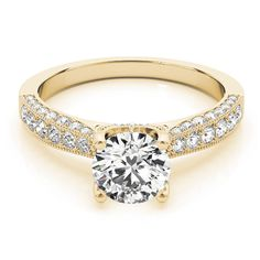 Transcendent Brilliance 14k Gold 1 1/2ct TDW White Diamond Antique Style Engagement Ring (F-G, VS1-VS2) (Yellow - Size 5.5), Women's, Rose