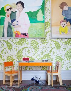 love this look -- art hung on wallpaper