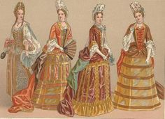 The ladies in this picture are all wearing frontages. A frontage is a tall stiff headdress worn by women during the Baroque period. The headdress has stiffened frills with ribbon loops in the back.
