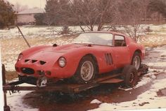The Retromobilist - The anorak: Ferrari 250 GTO #3589GT  After just 2 years of active racing it was pensioned off and donated to a high school in Texas by the then owner, Tom O'Connor. It was used in parades and shows but then, in 1972, it was sold by a sealed bid ($6500) to a certain Joe Korton, who did not go on and drive it, as the average car enthusiast would do. No, he put in a field next to his home on a trailer, unprotected, all ready for the elements to munch it up over a couple of…