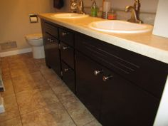 Restaining oak bathroom cabinets using General Finishes Java Gel Stain