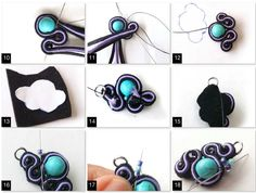 Learn soutache with this step-by-step tutorial Tutorial Soutache, Beaded Bracelets Tutorial, Soutache Pendant, Soutache Earrings, Wire Jewelry Earrings, Jewlery, Colored Braids, Last Stitch, Handmade Felt