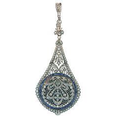 C.H. Meylan Sapphire Diamond Platinum Belle Epoque Watch Pendant. An exquisite Belle Epoque platinum, diamond and sapphire watch pendant by C.H. Meylan. Retailed by J.R. Reed & Co. Original fitted box.  c 1900