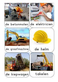 woordkaarten Bouwen2 Dutch, Construction, Education, Building, Houses, Activities, Fle, Living Room Ideas, Bedroom