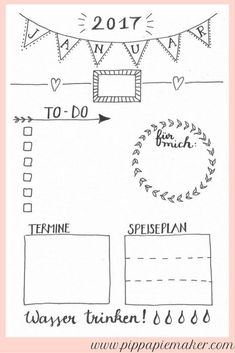 Free Daily Planner January by pippapiemaker.com For the Bullet Journal or a ...  #bullet #daily #january #journal #pippapiemaker #planner #schreibwarenOrganisieren