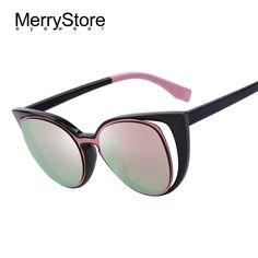 Купить товар Merrystore мода кошачий глаз солнечные очки женщин модной ретро пирсинг женский солнцезащитные очки óculos de sol feminino UV400 в категории Солнцезащитные очки на AliExpress.
