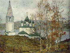 Илья Глазунов. Тутаев над рекой.  Ilya Glazunov. Tutaev above the river.