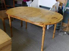 Pine dining table, bit of water damage on top (can be easily sanded out)------------------- £55 (pc795)