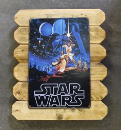 This a  perfect gift and only $25.00 Star Wars Retro Metal Poster Framed in Distressed Pinewood by ArtMaxAntiques on Etsy