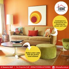 Hues of orange used perfectly speaking a girls heart! Maybe a voracious reader or an educator to children.   #iHome #Furniture #ArtisticLiving #Pune