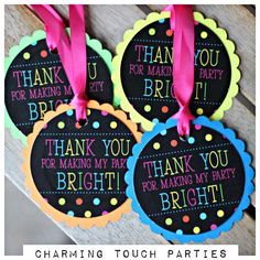 Girl Neon Birthday Party favor tags. Set by CharmingTouchParties