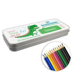 Personalised Pencil Tin & Crayons -  Be Roarsome Dinosaur