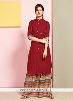 Maroon Rayon Readymade Kurti With Palazzo 126078 Stylish Dress Designs, Stylish Dresses, Simple Dresses, Pretty Dresses, Casual Dresses, New Kurti Designs, Churidar Designs, Blouse Designs, Henna Designs