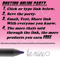 anyone wants to earn some free makeup ?? copy & paste the link above or just click on post it will instruct you to save the themed party this link is for a themed kudos party.... email , text everyone you know the link you will receive 10% of whats sold through that link in ycash which you can spend on makeup it really is as simple as that