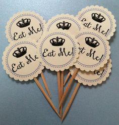 Printed Alice in Wonderland Inspired Mad Hatter Tea Party Baby Shower, Bridal Shower Eat Me! Picks on Etsy, $7.95