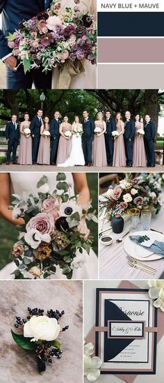 navy blue and mauve fall wedding color ideas #weddingcolors #fallwedding #weddingideas #weddingdecor #weddingdress