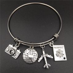 $5.15 - Travel Lover Bangle with Camera, Globe, Plane, Passport Charm