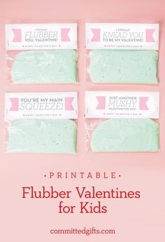 Printable Valentine for Kids | Flubber Valentines | Classroom Valentines. Awesome candy-free idea for class Valentines! Printable with 4 different cards and instructions for only $3.