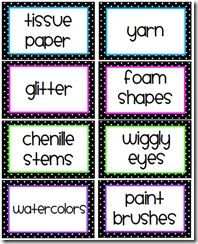 Black & White Polka Dot Supply Labels from Mrs. Freshwater's Class