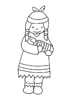 Une jolie petite indienne entrain de câliner sa poupée en bois, beau dessin à colorier