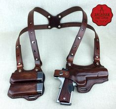 Handmade 1911 Shoulder Holster with Magazine Carrier Custom sizes available, shoulder Rig by arcadiancraftsman on Etsy https://www.etsy.com/listing/253348960/handmade-1911-shoulder-holster-with