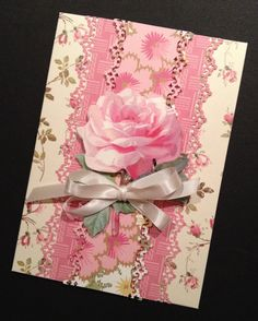 Floral Shabby-Sweet All Occasion Pink Rose Card with Elegant Anna Griffin Papers