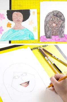 A fun portrait drawing activity for kids using magazine facial features as the starting point. Plus 6 more diversity art activities for kids that celebrate everyone's uniqueness! Kids Collage, Simple Collage, Collage Art, Clay Art Projects, Drawing Projects, Drawing Ideas, Drawing Games For Kids, Drawing Activities, Portraits For Kids