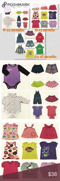 Baby Girl Clothes 6-18months Baby Girl Clothes Bundled total of 26pcs size: 6-12 & 12-18months brandnames: Carter's, Peanuts, Oshkosh, Garanimals, Old Navy, Cutie Pie, Cat & Jack, Gerber, Luvable Friends, Baby UR It, Faded Glory, Jumping Beans, Baby Gap, Puma, Kidgets condition: Very Good to Good Osh Kosh Other