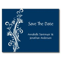 Navy and White Floral Save The Date Postcard