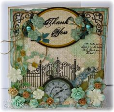 Such a beautiful card Gabrielle Pollacco designed featuring the Somewhere In Time collection. Love how she created a garden scene on the front. #BoBunny, #cards, #scrapbookcards, @gpollacco