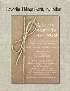 Favorite Things Party Invite  Printable by PrintablePartiesInc, $12.00