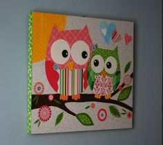 Scrapbook paper ModPodge and wood inspo Owl Crafts, Diy And Crafts, Arts And Crafts, 3 Piece Canvas Art, Diy Canvas, Canvas Ideas, Wall Canvas, Mod Podge Crafts, Do It Yourself Inspiration