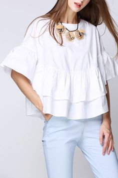 ruffled top + blue pants #casualworkstyle