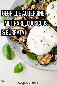 Grilled aubergine with pearl couscous and burrata - OhMyFoodness Good Healthy Recipes, Raw Food Recipes, Vegetarian Recipes, Veggie Recipes Tasty, I Love Food, Good Food, Barbecue, Food Porn, Comfort Food