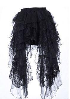 Gothic Lolita Asymmetrical Black Lace Skirt for sale by Iris Noir Boutique at MoreThanHorror.com