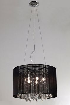 GMGE - Colgante cinta negra 7xG9 con caireles Ø45cm - RAIN-L