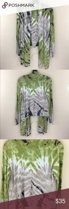 Indigo Threads tie dye asymmetric open cardigan Great condition indigo thread co. Sweaters