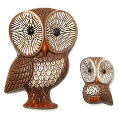 owls centerpieces | Vintage 1970s pair of owl wall plaques | Flickr - Photo Sharing!