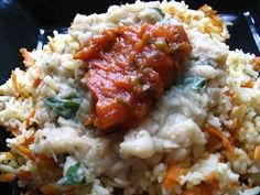 Cannellini Bean Sauce and Herbed Tomato Sauce Over Carrot Rice | Lisa's Kitchen | Vegetarian Recipes | Cooking Hints | Food & Nutrition Articles